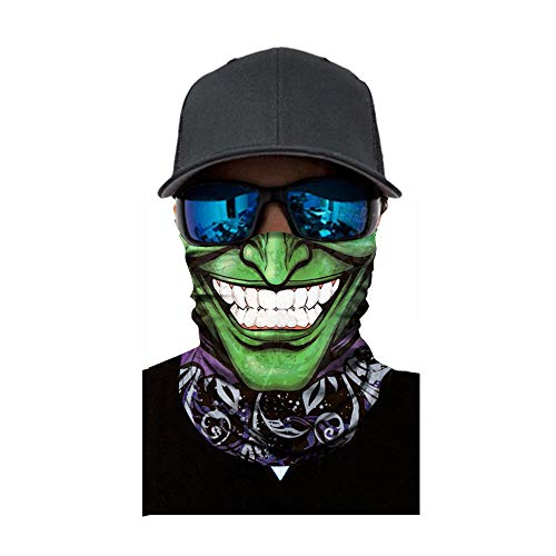 MEIbax Al aire libre 3D Balaclava Moto Pasamontañas Calavera Multifuncional Bufanda Prueba de Viento Microfibra Elástico Pañuelos Cabeza Bandana Esquí Ciclismo Bici Máscara Facial Protección UV (H)