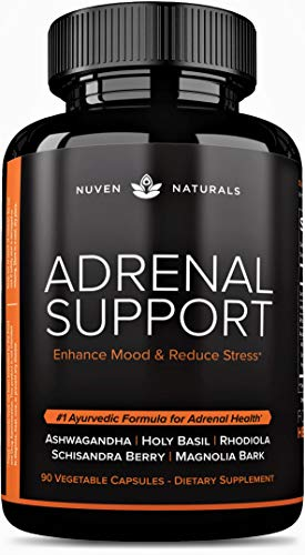 Adrenal Support — Natural Adrenal Fatigue Supplements, Cortisol Manager with Ashwagandha Extract, Rhodiola Rosea, Holy Basil, Adaptogenic Herbs for Adrenals, Stress Support & Adrenal Health