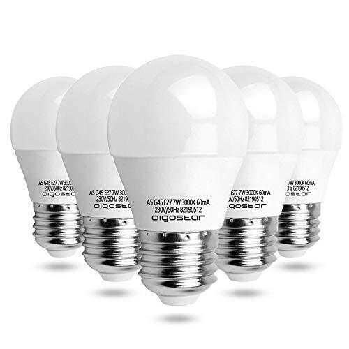 Led E27 Warmweiß 7W Leuchtmittel Birne Lampe 3000K 520 Lumen Abstrahlwinkel 230 Grad G45 Glühbirnen Tropfen 5 Stücke Energiespar