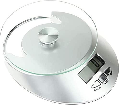Cuenco de escala de cocina de alimentos, báscula de cocina de alimentos digitales 5kg / 1g Multifunción de pesaje de grama gram con vidrio para hornear y cocinar