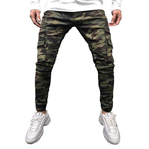 FRAUIT Pantaloni Uomo con Tasche Laterali Slim Pantaloni Ragazzo Jeans Elasticizzati Pantaloni Uomini Cargo Militari Pantaloni Denim Stretti sotto Mimetici Camouflage Pantalone Lavoro Estivo Casual
