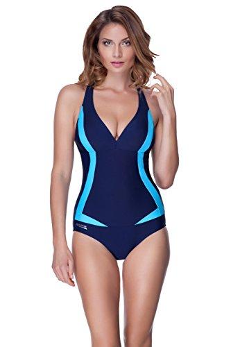 Aqua Speed® Greta Badeanzug Frauen (3 Farbkombinationen Größen 36-48), Farbe:Navy - Blau;Größe:36
