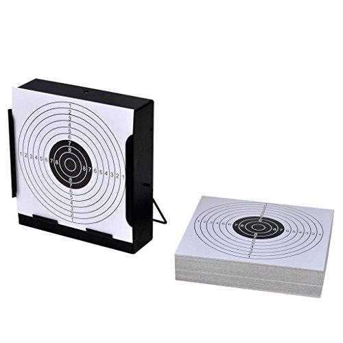 ghuanton Zielscheiben-Halterung mit Kugelfänger 14 cm + 100 Papier-Zielscheiben Sportartikel Outdoor-Aktivitäten Jagen und Schießen Schießsportzubehör Zielscheiben