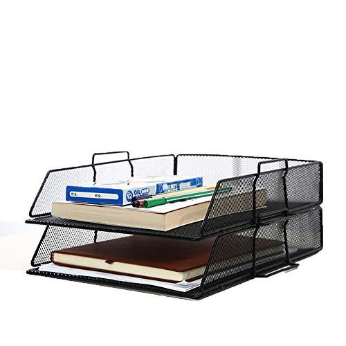 WRJ Ablagefächer Stapelbare Dokumentenablage, Ordnungssystem Büro Briefablage Aus Metall Für DIN A4, Schreibtischablage,Schwarz