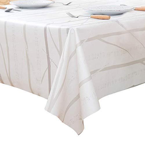 LEEVAN Heavy Weight Vinyl Rectangle Table Cover Wipe Clean PVC Tablecloth Oil-Proof/Waterproof Stain-Resistant-54 x 72 Inch (Tree Branch)