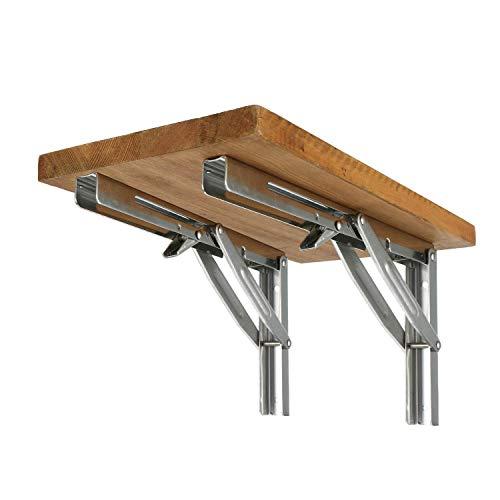 FreeTec - Soporte de pared plegable de acero inoxidable pulido para mesas, bancos y estanterías, capacidad de carga: 250 kg