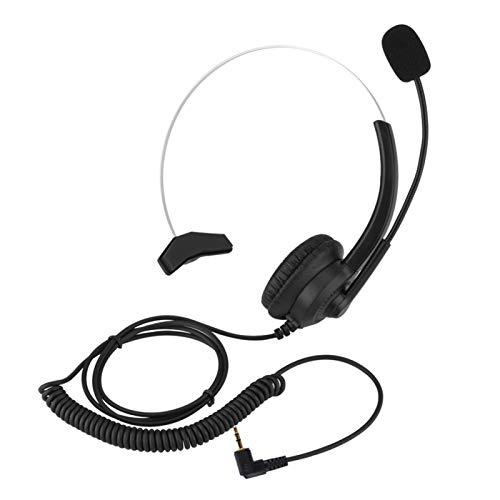 Yunseity Auriculares para Centro de Llamadas con cancelación de Ruido, cómodos Auriculares para teléfono con Sonido sin pérdidas, Orejeras giratorias de 360 ° y Diadema Estirable(Codo de 2,5 mm)