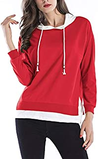 LICHONGGUI Hooded Long Sleeve Casual Loose Sweatshirt 2020 Fashion icon (Color : Red, Size : XL)