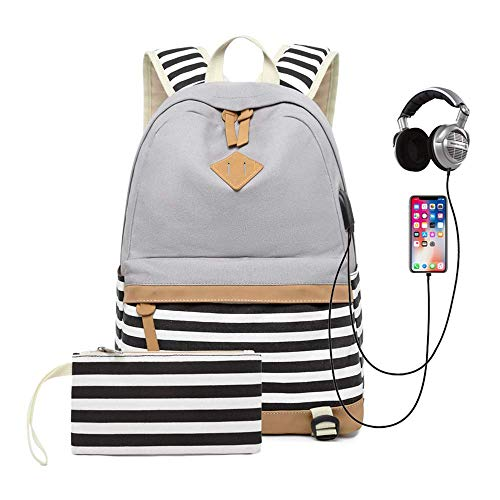 HFY Women Backpack Canvas Student Backpack Casual Backpack School Backpack with USB Charging Port Stripe Backpack 15.6 Inch Laptop Backpack, with Pencil Case for Girl,Student,Teen Youth (Gray)