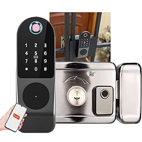 NBXLHAO 5 In 1 Tuya Biometric Fingerprint Lock,Smart Card - Digital Password - Key- Remote App(Tuya) / For Door Thickness (30~60mm)