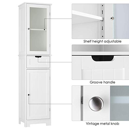 HOMECHO Bathroom Storage Cabinet with 3 Tier Shelf Drawer Glass Door, Floor Cabinet Free Standing Linen Tower Tall Slim Side Organizer Shelves Wooden Cupboard, White, HMC-MD-015