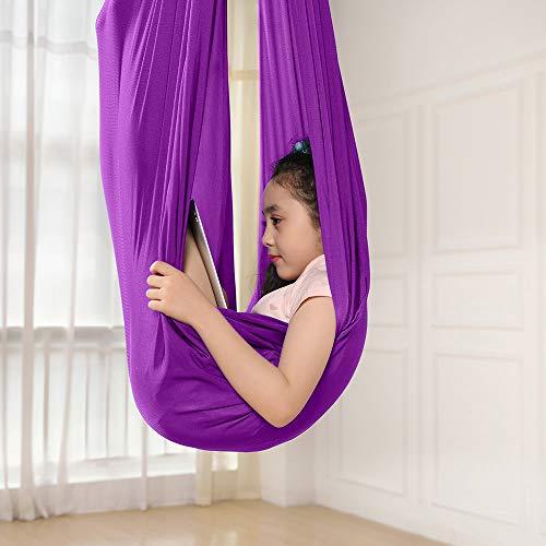 Kinder Schwingen Hängematte, Indoor Schaukel Elastisch Cuddle Hammock Sensory Swing Ideal für ADHS, Asperger und sensorische Integration sowie Autismustherapie (Lila, 150 X 280CM)