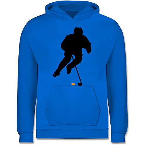 Sport Kind - Eishockey Spieler - 128 (7/8 Jahre) - Himmelblau - Jungen Pullover Pullover - JH001K - Kinder Hoodie