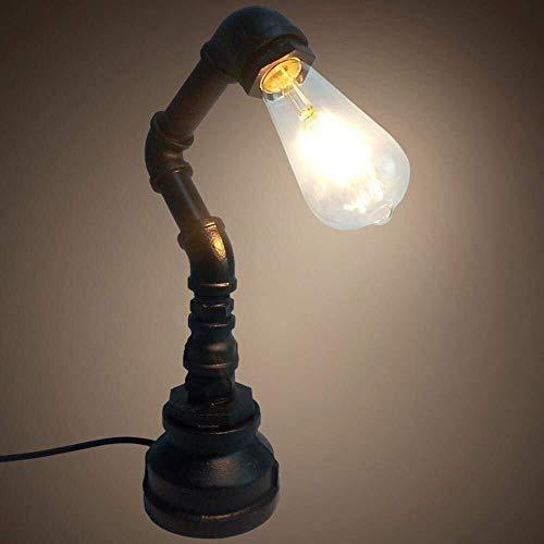 LCSD Lámpara de Mesa Creativo, Industrial, Clásico, Vintage, Loft Oxidado del Tubo del LED Lámpara De Escritorio De Diseño For La Decoración, Cafetería, Sala, Negro