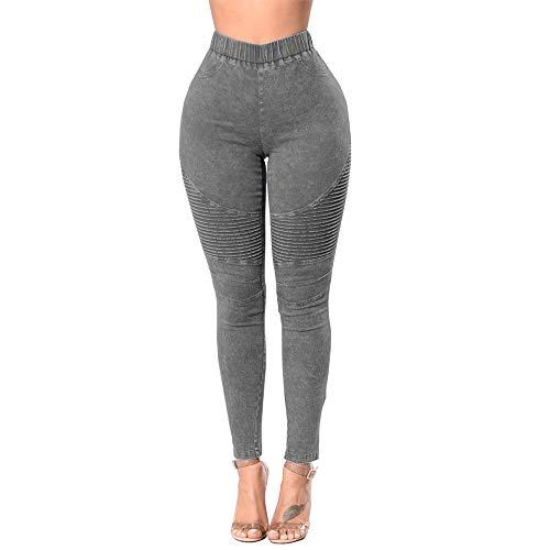 Mibuy Mujer Pantalones Vaquero Skinny Push Up Pantalones Elástico Jeans Cintura Alta Pantalones Elásticos Stretch Jeans Pantalones Vaqueros Mujer De Vestir Talla Grande 2020 Leggings Gris,M