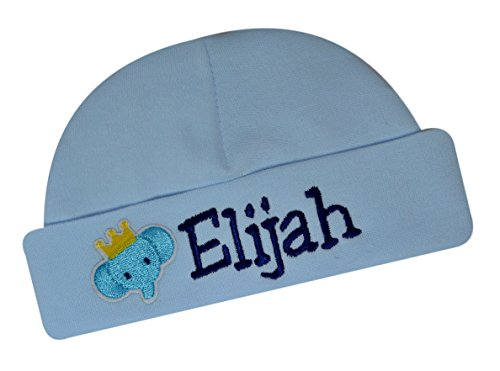 Personalized Embroidered Baby Boys Keepsake Hat with Elephant from Funny Girl Designs Your Text (Blue)