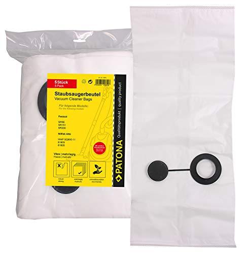 PATONA 5x Stofzuigerzak compatibel met Festool SR5E, SR151, SR200, SR201, SR203, scheurvaste filterzak - synthetisch vlies