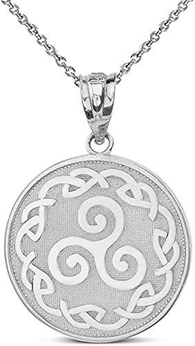 NC83 Solid 14k White Gold Triskele Triskelion Triple Spiral Celtic Knot Disc Pendant Necklace