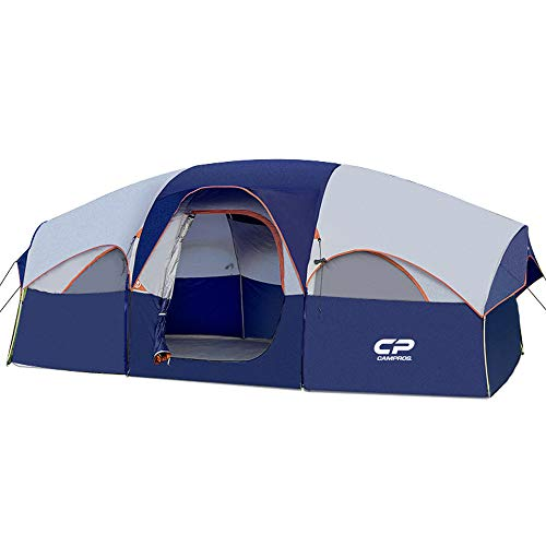CAMPROS Tent-8-Person-Camping-Tents, Waterproof Windproof Family Tent, 5 Large Mesh Windows, Double Layer, Divided Curtain for Separated Room, Portable with Carry Bag, for All Seasons - Updated Blue