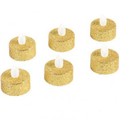 JJA Lot de 6 Bougies à LED Chauffe Plat pailletées 4 cm - Or - 4 cm