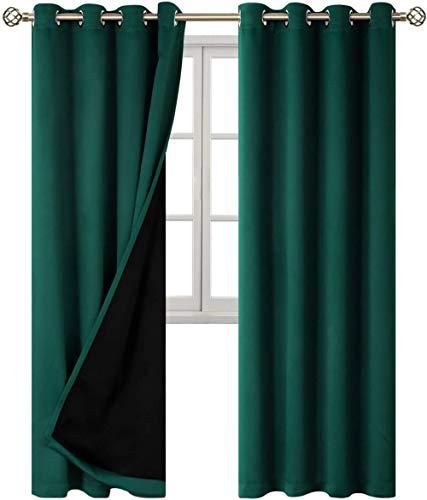 chinawh 3D Blackout Ösen Vorhang Smaragd Mode Einfach 170X200Cm Gardine Verdunklungsgardine Kälte Und Wärmeisolierung Verdunklungsgardine Für Wohnzimmer Kinderzimmer Schlafzimmer