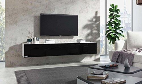Wuun® TV Board hängend/8 Größen/5 Farben/160cm Matt Weiß- Schwarz-Hochglanz/Lowboard Hängeschrank Hängeboard Wohnwand/Hochglanz & Naturtöne/Somero