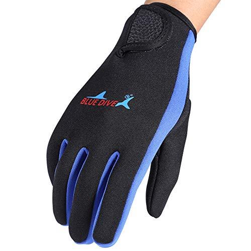 VGEBY1 Guanti da sub, 1 paio 3 colori Guanti da muta a cinque dita per immersioni, snorkeling, kayak, surf e tutte le attività acquatiche (M-blu scuro)