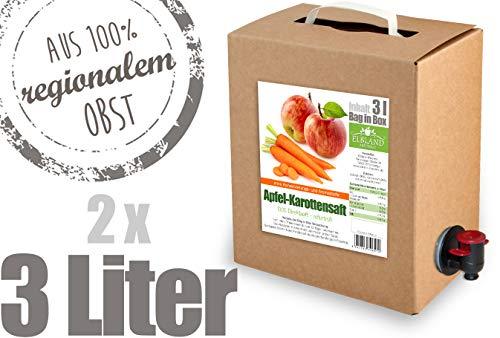 Apfel-Karottensaft - 100% Direktsaft 2er Pack (2 x 3 Liter, Bag in Box mit Zapfhahn)