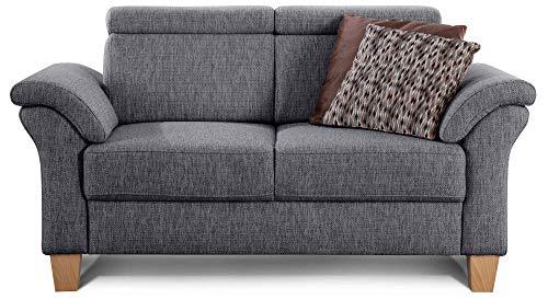 Cavadore 2-Sitzer Sofa Ammerland / Couch mit Federkern im Landhausstil / Inkl. verstellbaren Kopfstützen / 156 x 84 x 93 / Strukturstoff grau