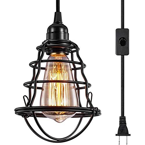 Lampadario a sospensione industriale a LED, gabbia in metallo, lampada da appendere, stile retrò, in ferro battuto, illuminazione vintage, loft, ristorante, cucina, caffetteria, vino