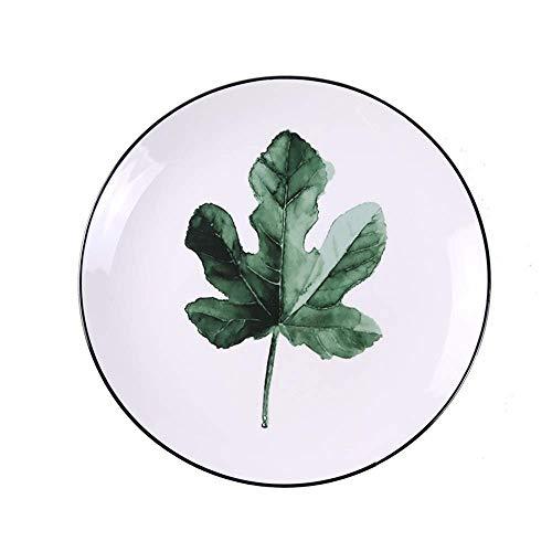 Mzxun Planta verde del plato de cerámica creativa de dibujos animados de frutas Tazón Inicio Western Steak Plate Plato de cerámica Set Vajilla Bandeja de 8 pulgadas