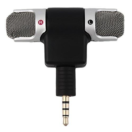 Hochleistungs-3,5-mm-Klinkenbuchse Tragbares Mini-Mikrofon Digitales Stereomikrofon für Recorder-Handy Sing Song Karaoke, schwarz