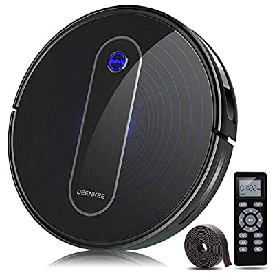 Robot Vacuum, Deenkee Robotic Vacuum Cleaner with Upgraded 2000Pa Strong Suction, Self-Charging, Daily Schedule,Slim and Quiet Smart Vacuum Multi-Cleaning Modes Ideal for Pet Hair, Carpet, Floor