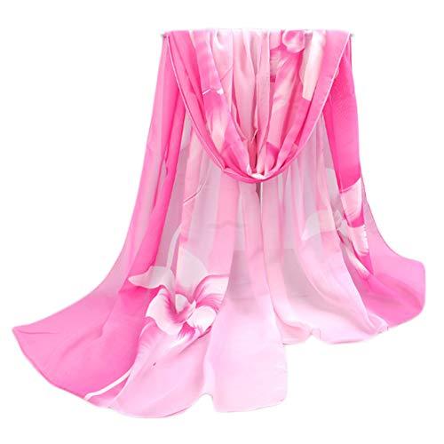 Leichter Blumendruck Frühling Sommer Schal Sonnencreme Schals für Frauen, Rosa