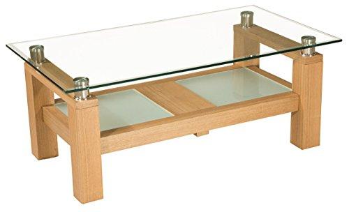 ** WERKS-ABVERKAUF ** Dallas Couchtisch in Echtholz furniert. Tischplatte mit Fassettenprofil. Untergestell furniert mit Satino-Glasplatten. Klarglas Größe: 110 x 60 cm Rechteckig Höhe: 45cm