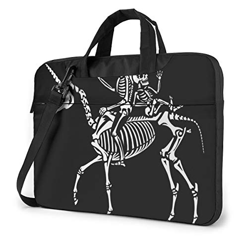 Couple of Skeletons Riding A Unicorn Laptop Case Bag Sleeve Shoulder Messenger Briefcase Portable Computer Bag W/Strap Handle for 14in Laptop