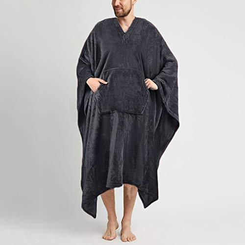 SCDZS Albornoz de forro polar de color sólido, cuello en V, para el hogar, suave, acogedor, suelto, bata de baño (color: gris, tamaño: pequeño)