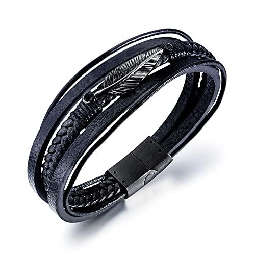 RSHJD Fashion Feather Multic Circle Mens Trenzado Tendencia de Cuero Brazalete Joyería de Acero Blanco, Puede ser Usado como un Buen Regalo,Negro