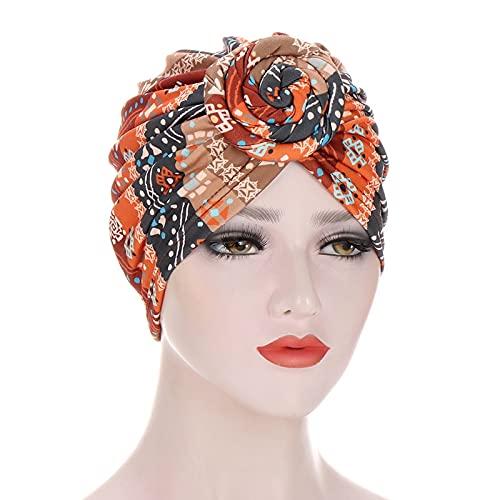 Gorro de punto con diseño africano para mujer, diseño de flores, turbante musulmán, gorro de nudo torcido, para mujer, quimioterapia, gorra, bandanas, pañuelo de cabeza (color naranja)