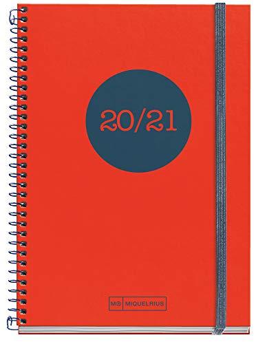 MIQUELRIUS Agenda Escolar Polipropileno Plus de Espiral 155x213 mm Semana Vista 2020-2021 Classic Topo Miquelrius Rojo Catalán
