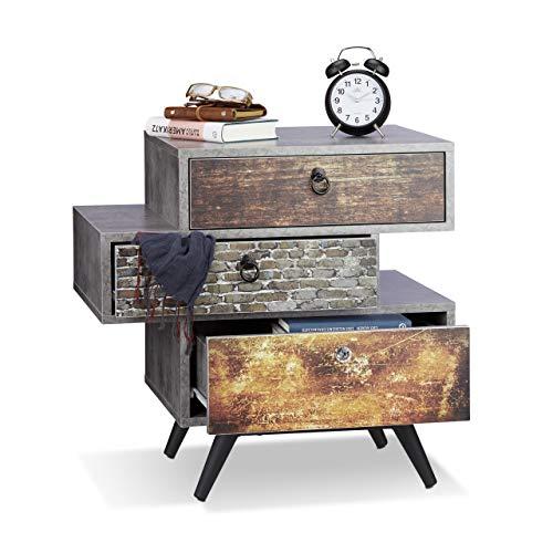 Relaxdays 10021858 Mobiletto Vintage a 3 Cassetti Armadietto Effetto Cemento Tiretti Shabby con Maniglia HLP: 60x60x40 cm Grigio