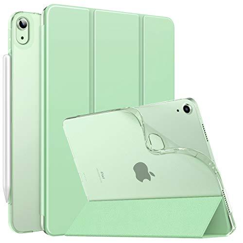 MoKo Cover Protettiva per iPad Air 4a Generazione iPad 10.9 2020, [Supporta Ricarica di iPencil] Retro Semi-Trasparente in TPU Leggero Custodia a Tri-Fold Auto Sveglia/Sonno, Verde