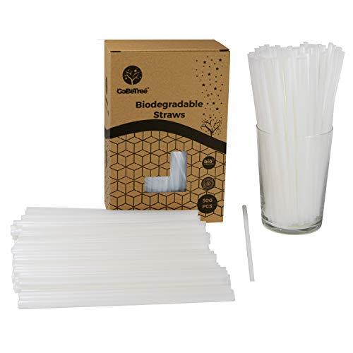 GoBeTree 300 pajitas de pla Biodegradable Color Blancas, Pajita ecológica Reutilizable. Cañitas y popotes para Fiestas y cumpleaños. Bebidas frías.