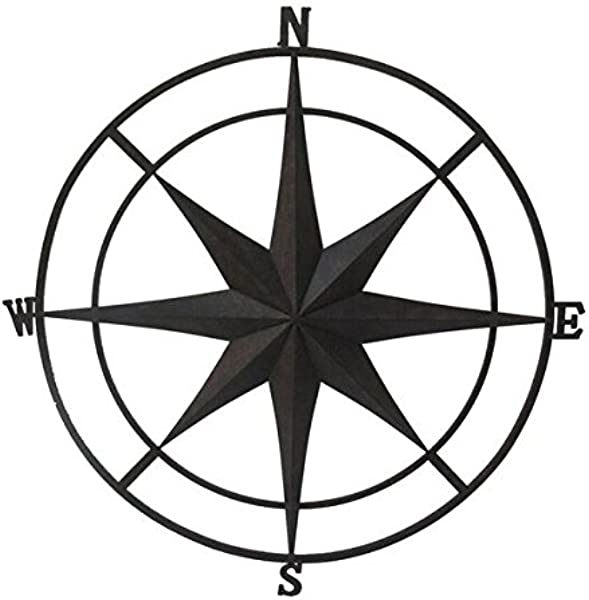 Backyard Expressions 906680 Wall Compass Black