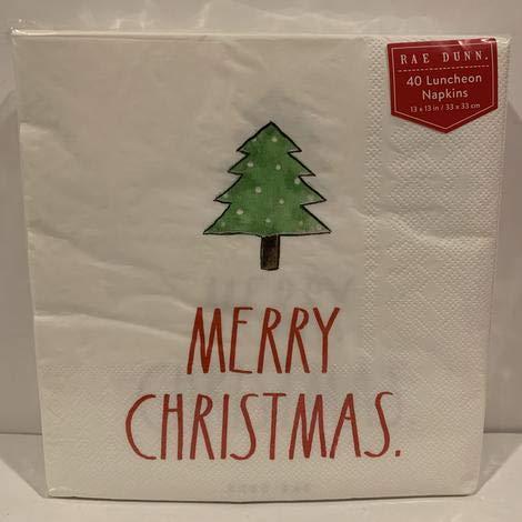 Rae Dunn Merry Christmas Servietten, Motiv: Weihnachtsbaum, 33 x 33 cm, 40 Stück