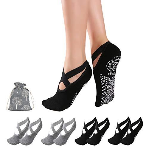 Elvielsl 4 Paar Yoga Socken, rutschfeste Socken für Damen Frauen Ideal für Yoga Pilates, Ballett, Tanz, Barre, Fitness, Barfuß-Training, Trampolin – Schwarz und Grau