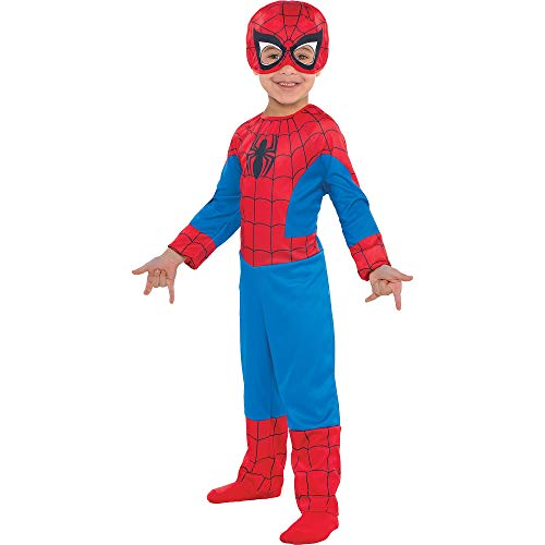 Suit Yourself Classic Spider-Man Halloween Costume for Toddler Boys, Includes Headpiece, 3-4T Red