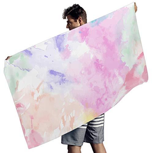 WellWellWell Corbata, colorante, fondo arcoíris, toalla de playa, absorbente, toalla de sauna, toalla de deporte, manta para adultos, color blanco, 150 x 75 cm