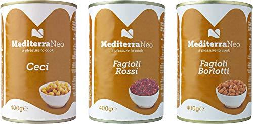 MediterraNeo - Legumbres cocidas en lata de 400 g cada una (paquete de 6: 2 de alubias rojas, 2 de garbanzos y 2 de alubias pintas)