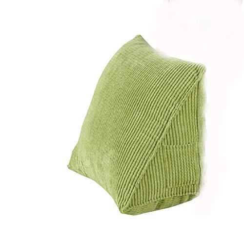 GONGMICF Cuscino Triangolare,Cuscino da Lettura,Supporto per Il Collo,Federa Lavabile Velluto a Coste per Divano Letto Sedia da Ufficio Schienale Decorazione Green